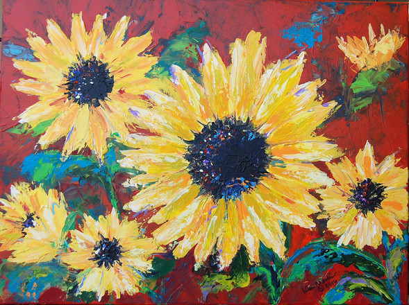 Sunflowers on Red by Kim Marks