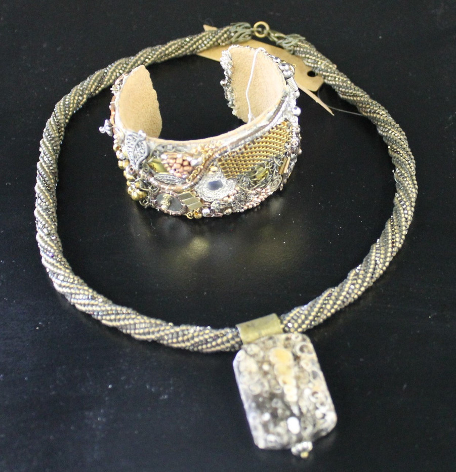 One-of-a-Kind Hand-Beaded Cuff & Necklace