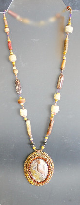 One-of-a-Kind Hand-Beaded Pendant Necklace
