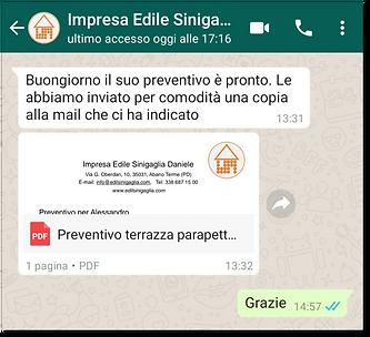 Conversazione per visualizzare preventivo con WhatsApp Business