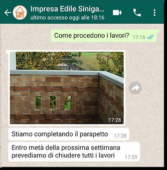 Conversazione per chiedere avanzamento dei lavori con WhatsApp Business
