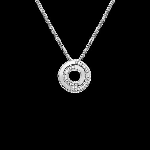 Pendentif sur chaîne Seventies dinh van 19mm Or blanc, diamants