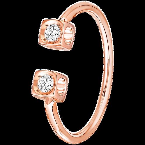 Bague Le Cube Diamant dinh van Or rose, diamants