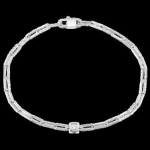 Bracelet sur chaîne Le Cube Diamant dinh van Or blanc, diamant