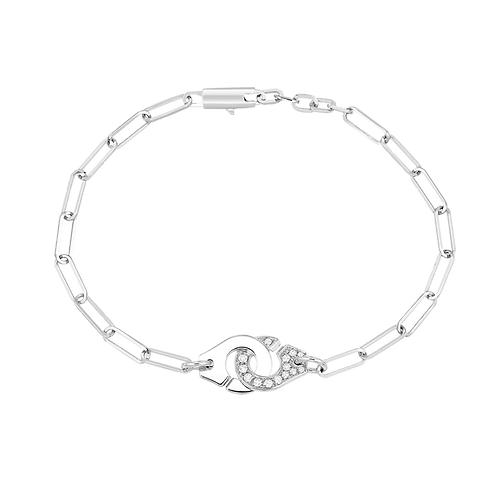 Bracelet sur chaîne Menottes dinh van R10 Or blanc, diamants