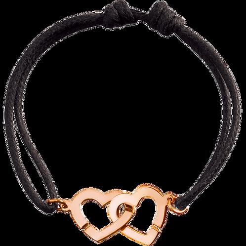 Bracelet sur cordon Double Coeurs R13 Or rose