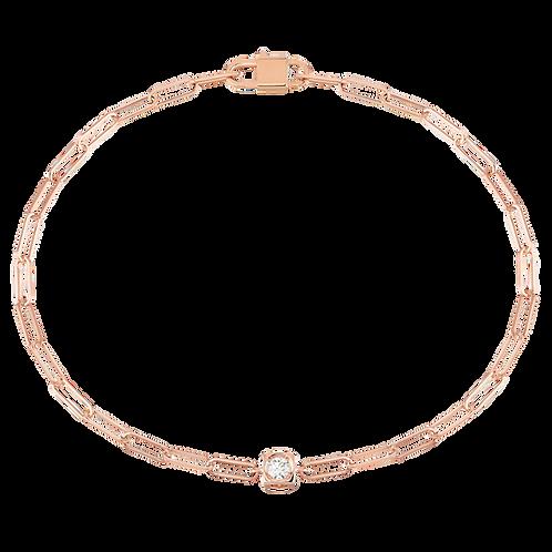 Bracelet sur chaîne Le Cube Diamant Or rose, diamant