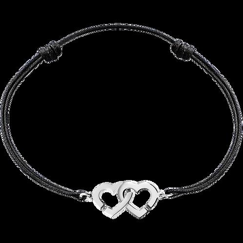 Bracelet sur cordon Double Coeurs R9 dinh van Or blanc