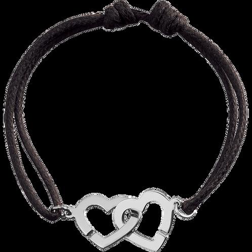 Bracelet sur cordon Double Coeurs R13 dinh van Or blanc