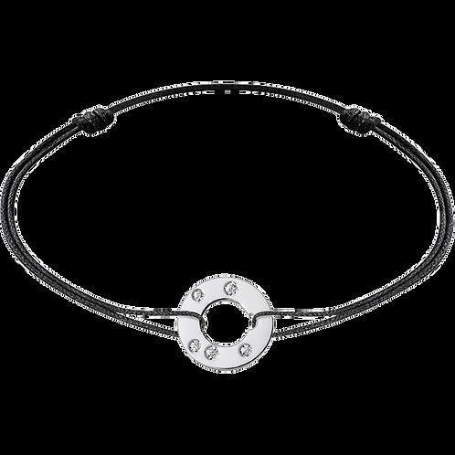 Bracelet sur cordon Cible 12mm dinh van Or blanc, diamants