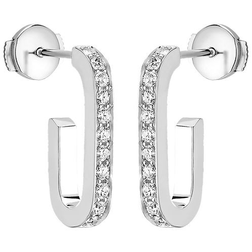 Boucles d'oreilles Maillon L dinh van Or blanc, diamants