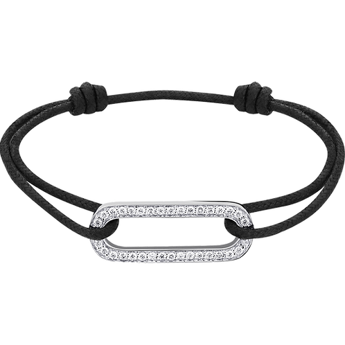 Bracelet sur cordon Maillon dinh van Or blanc, diamants