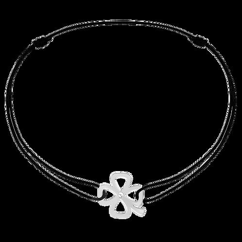 Bracelet sur cordon Bubbles Trèfle dinh van Or blanc
