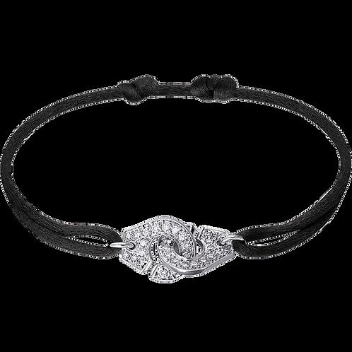 Bracelet sur cordon Menottes R12 dinh van Or blanc, diamants