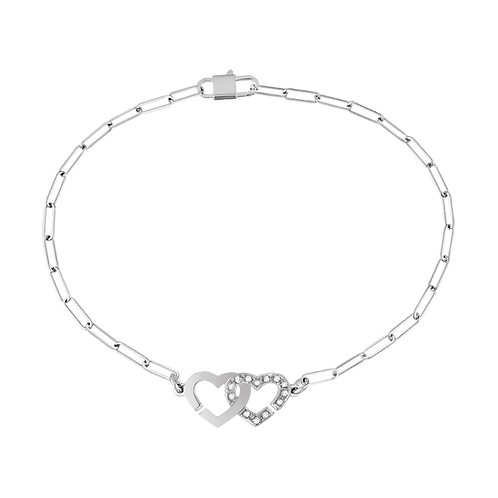 Bracelet sur chaîne Double Coeurs dinh van R9 Or blanc, diamants