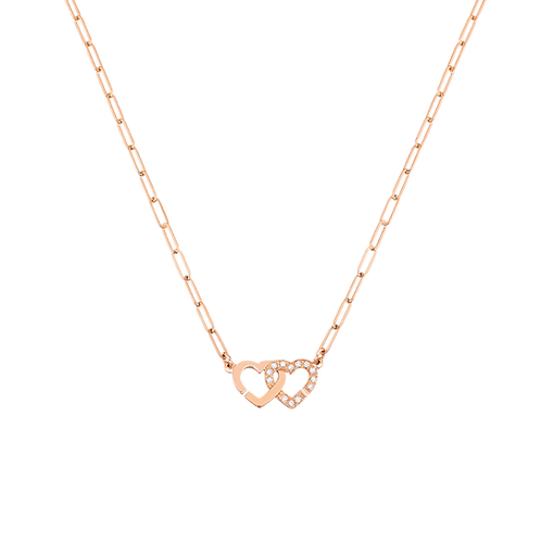 Collier Double Coeurs dinh van R9 Or rose, diamants