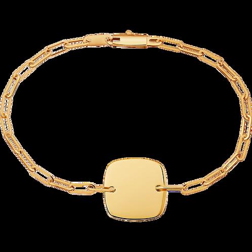 Bracelet sur chaîne Plaque Carrée 12mm dinh van Or jaune
