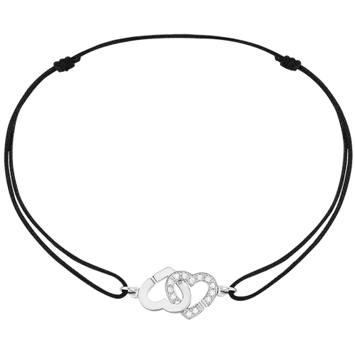 Bracelet sur cordon Double Coeurs R9 Or blanc, diamants