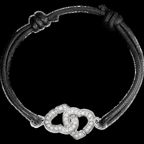 Bracelet sur cordon Double Coeurs R12 dinh van Or blanc, diamants