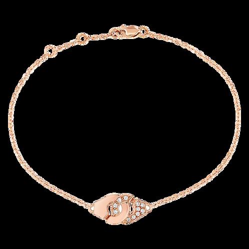 Bracelet sur chaîne Menottes dinh van R8 Or rose, diamants