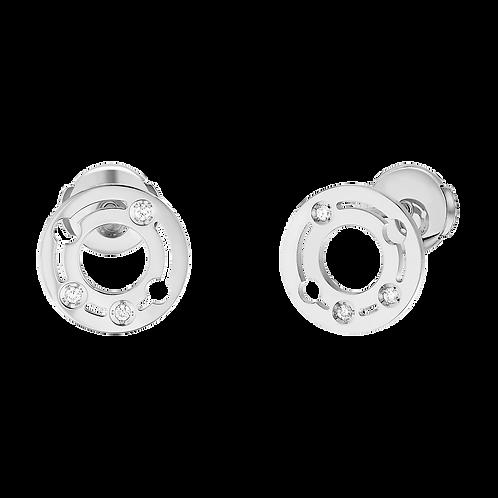 Puces d'oreilles Pulse dinh van 10mm Or blanc, diamants