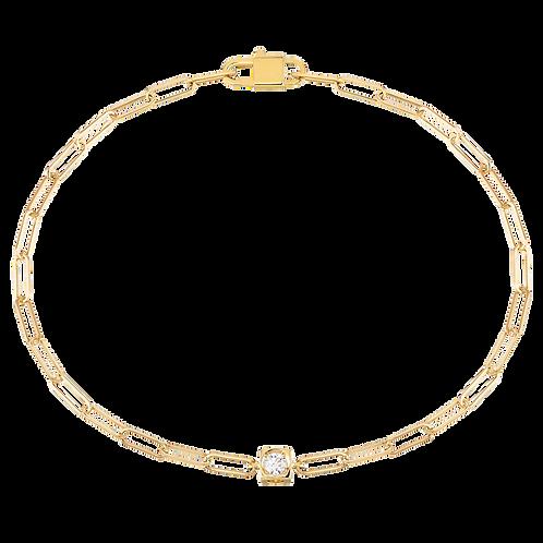 Bracelet sur chaîne Le Cube Diamant dinh van Or jaune, diamant