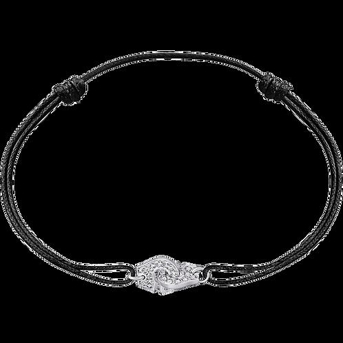 Bracelet sur cordon Menottes R8 dinh van Or blanc, diamants