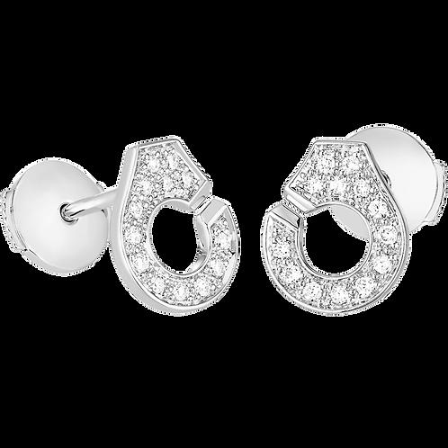 Puces d'oreilles Menottes dinh van R7,5 Or blanc, diamants