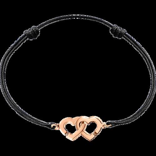 Bracelet sur cordon Double Coeurs R9 dinh van Or rose