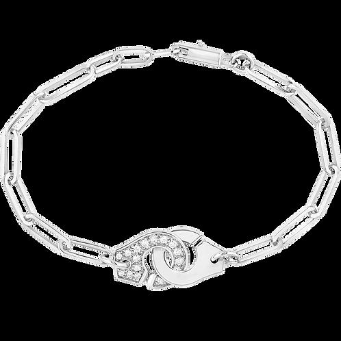 Bracelet sur chaîne Menottes dinh van R12 Or blanc, diamants