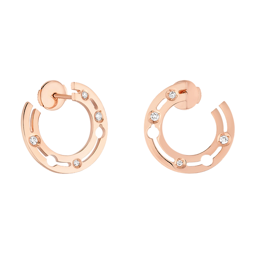 Créoles Pulse dinh van 18mm Or rose, diamants