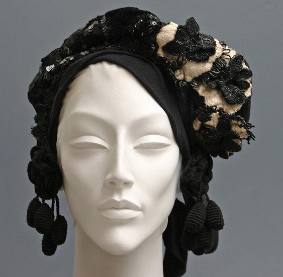 BLACK & WHITE CROWN HEADPIECE