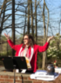 Pastor Kimberly blesses everyone during Easter worship