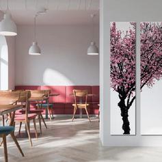 Wandschilderij 3 panelen boom paars