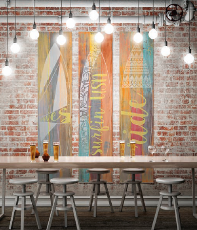Wandschilderij 3 luik SURF fluor hout