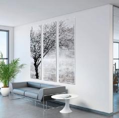 Wandschilderij 3 panelen zwart wit boom