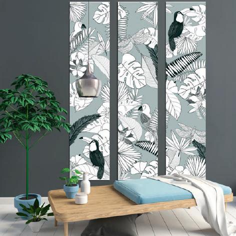 Wandschilderij 3 panelen Jungle