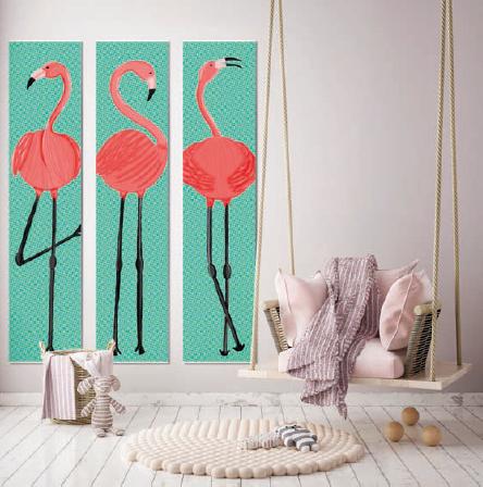 Wandschilderij 3 luik Flamingo