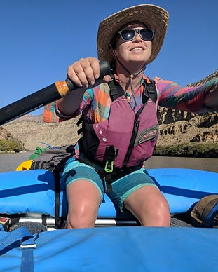 Woman rafting oregon high desert John Day river