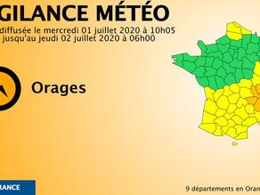 Violents orages : 9 départements en alerte