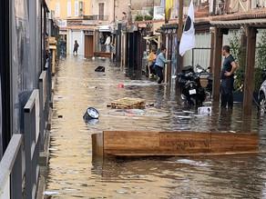 Bonifacio : le port inondé au passage d'une perturbation