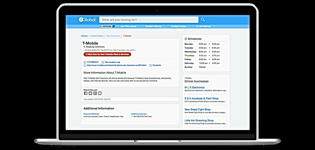 Page d'entreprise, Iglobal, Référencement automatique gratuit