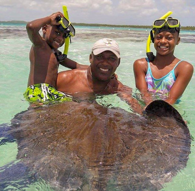 Stingray City with the kids
