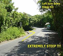 Left turn down Kings Hill