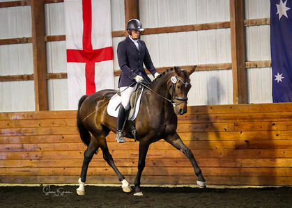 Andrea Woodner's Jaika Jirdonie competing in a materiale class
