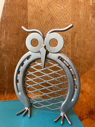 Metal Art Horseshoe Owl