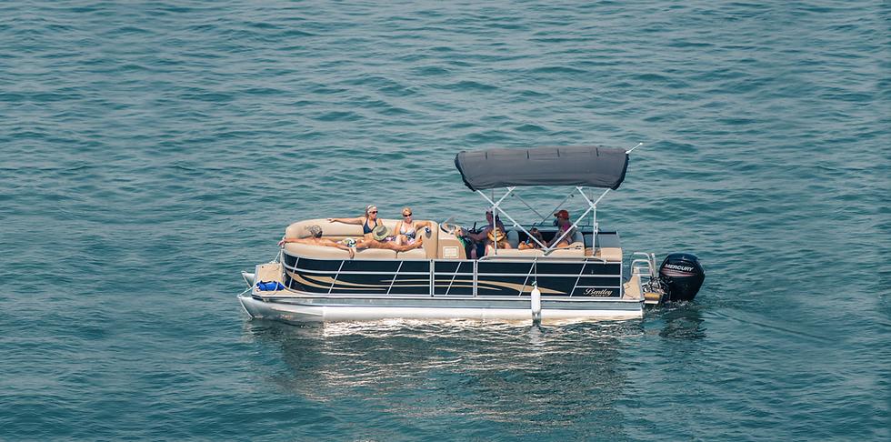 Friends on Bentley Pontoon Boat on Lake Hartwell