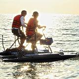 Couple Riding Hydrobikes Watercraft on Lake