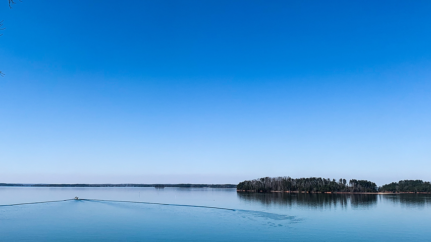 View of lake on open water