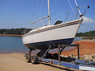 Boat on boat ramp at Big Water Marina